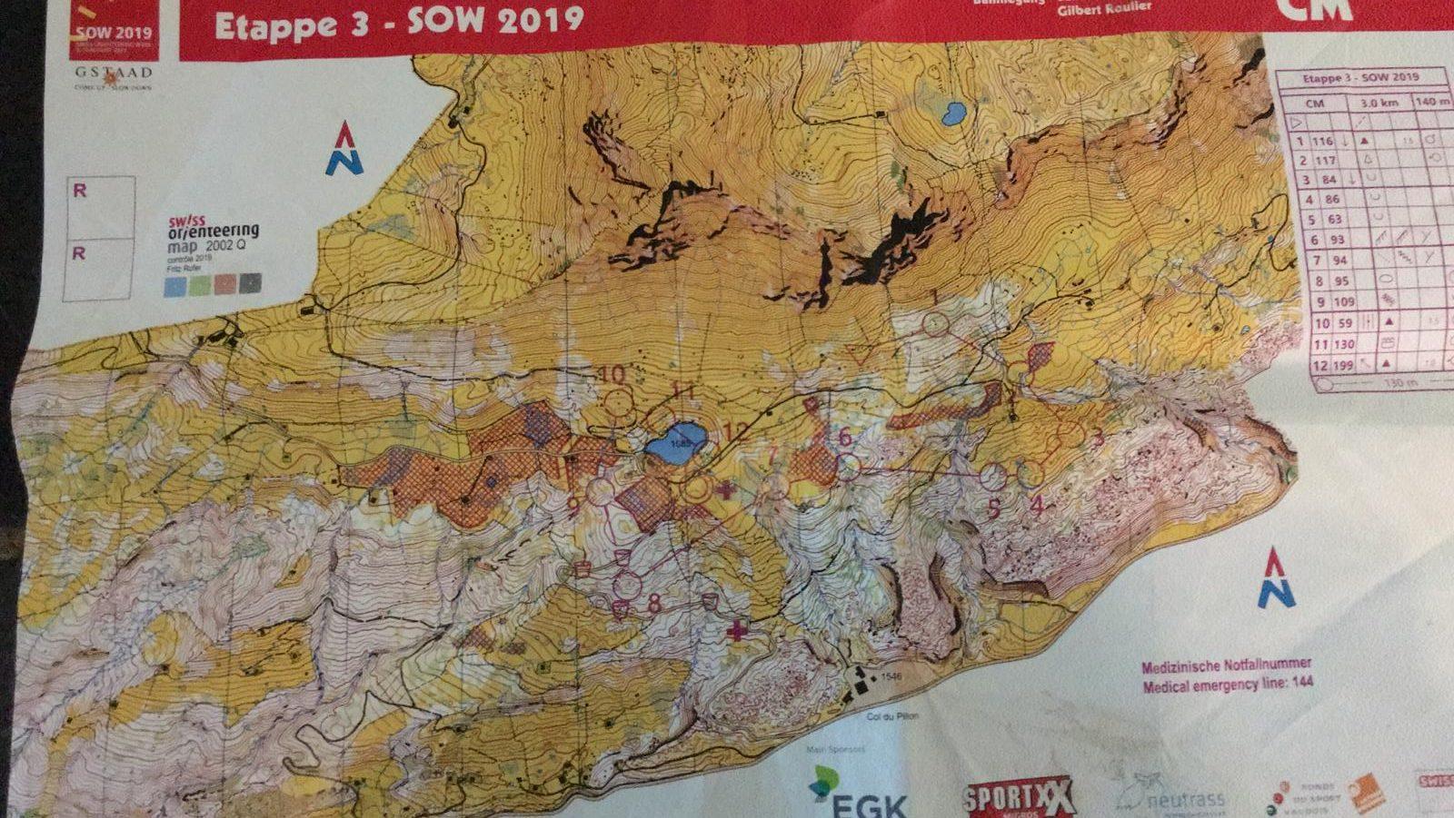 Een route van etappe 3 tijdens de Swiss O-Week.