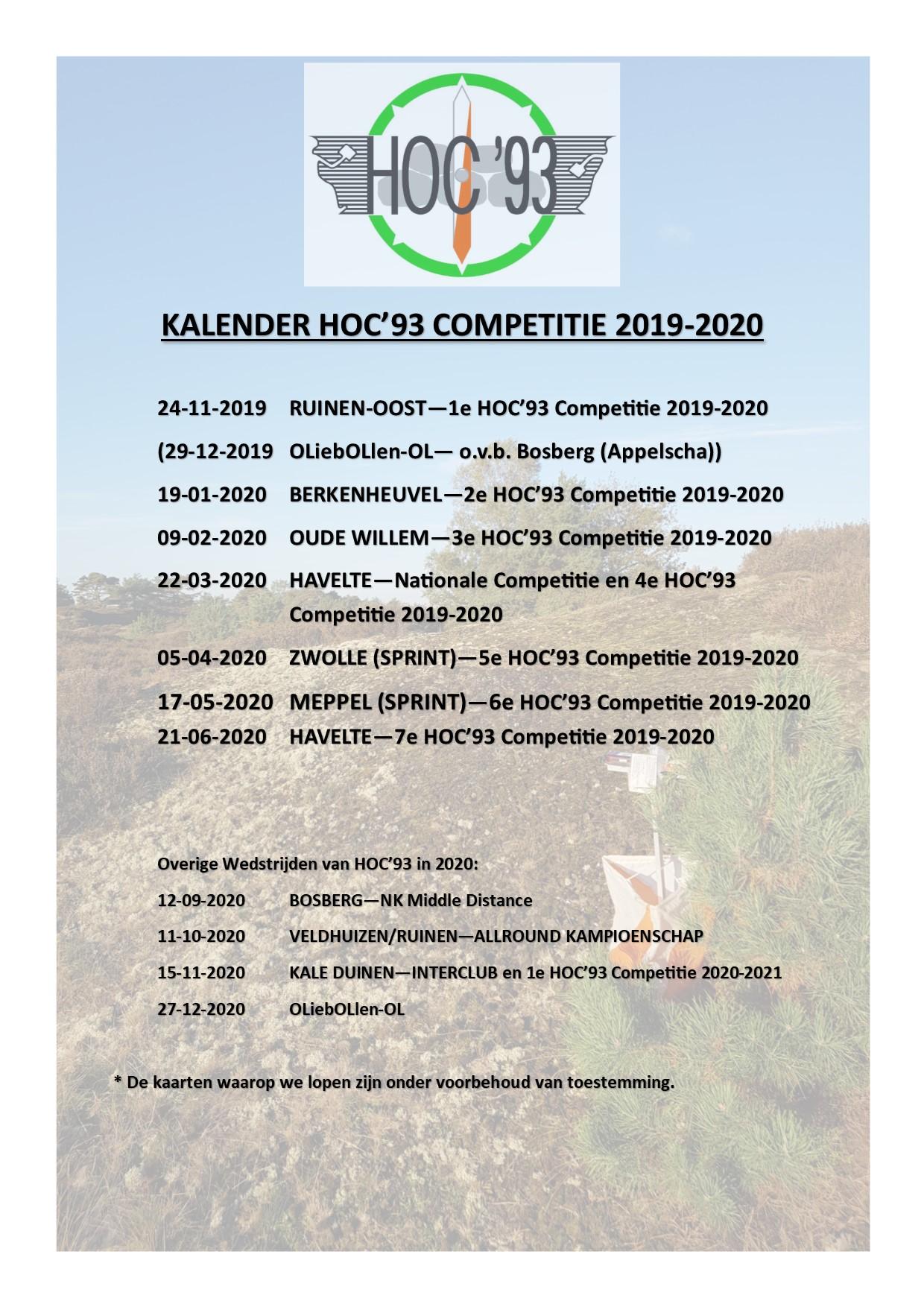 De HOC'93 Competitie 2019-2020 in één opslag incl. de overige wedstrijden in 2020.